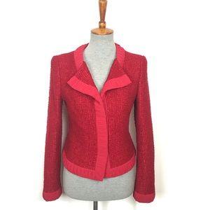 Escada Red Silk Nylon Ruffle Trim Blazer Size 34